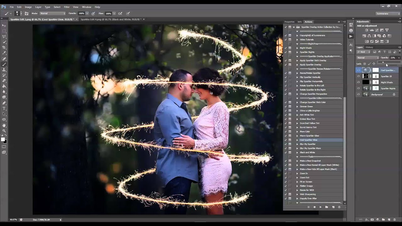 how to add sparklers in photoshop and pse