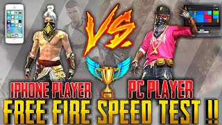 PC Vs IPHONE [SPEED TEST] PC PLAYER Vs I PHONE PLAYER 1Vs1|| FREE FIRE EPIC MATCH ||RUN GAMING TAMIL