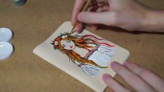 Speedpaint[№3] Рисуем АКРИЛОМ. Красивый рисунок ДЕВУШКИ!