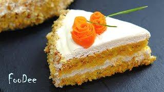 Морковный торт со сметанным кремом / Нежный, не приторно сладкий домашний торт / Carrot Cake 4K