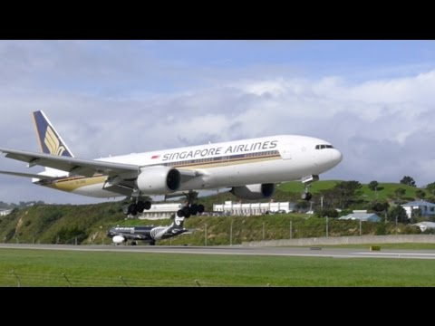 Wellington Airport action including arrival of Singapore Airlines 777-200ER, Air NZ, Qantas, Virgin