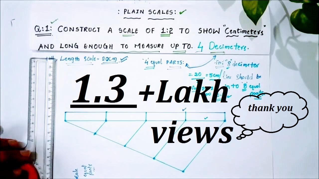 medium resolution of engg drawing scales a simple problem on plain scale part 1