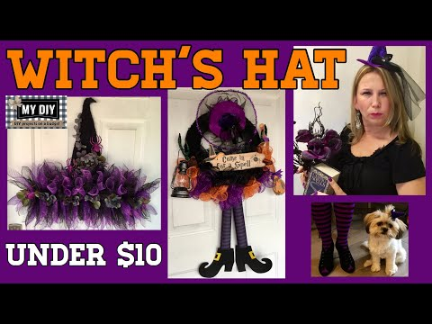 Dollar Tree DIY Witch's Hat Wreath deco mesh wire hat form | Witch Wreath | TWO WREATHS!