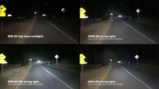 Xray Vision: Quartz Halogen vs HID vs LED driving lights