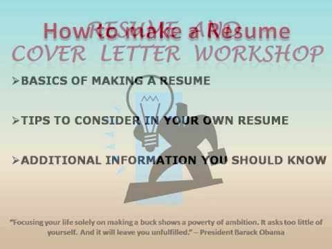Resume And Cover Letter Workshop Youtube