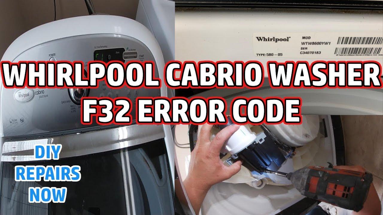 How to Fix Whirlpool Cabrio Washer F32 Error Code | Not Draining | Model  WTW8600YW1