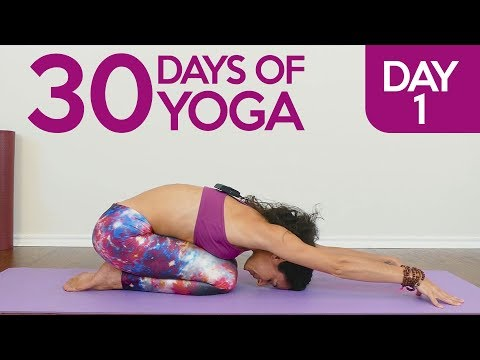 Learning Yoga Essentials for Stress Relief, Day 1 of 30, Beginners Yoga Class