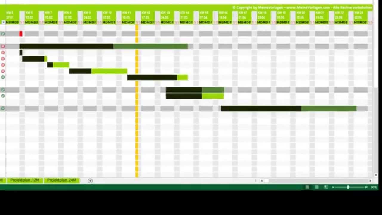 Tutorial Excel Projektplan (Projektablaufplan, Terminplan, Zeitplan ...