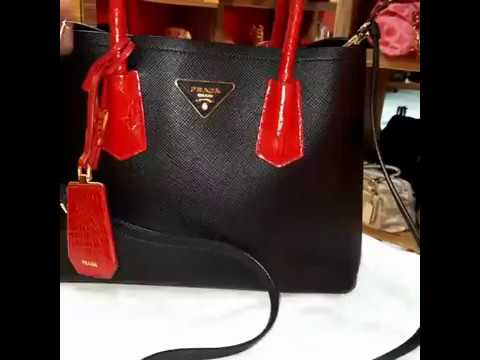 PRADA Saffiano Two-tone Double Bag 1BG887 - YouTube 77183b9eb9a78