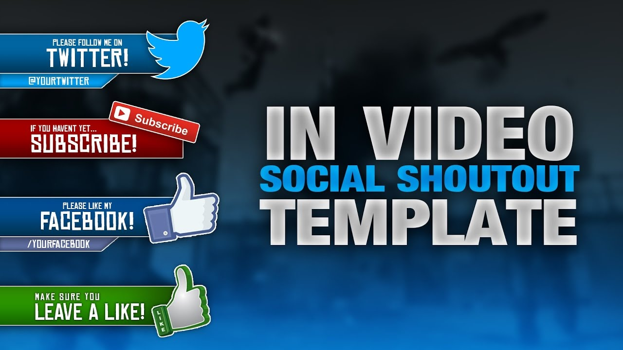 FREE SOCIAL MEDIA SHOUTOUT VIDEO SIDEBAR TEMPLATE! PSD