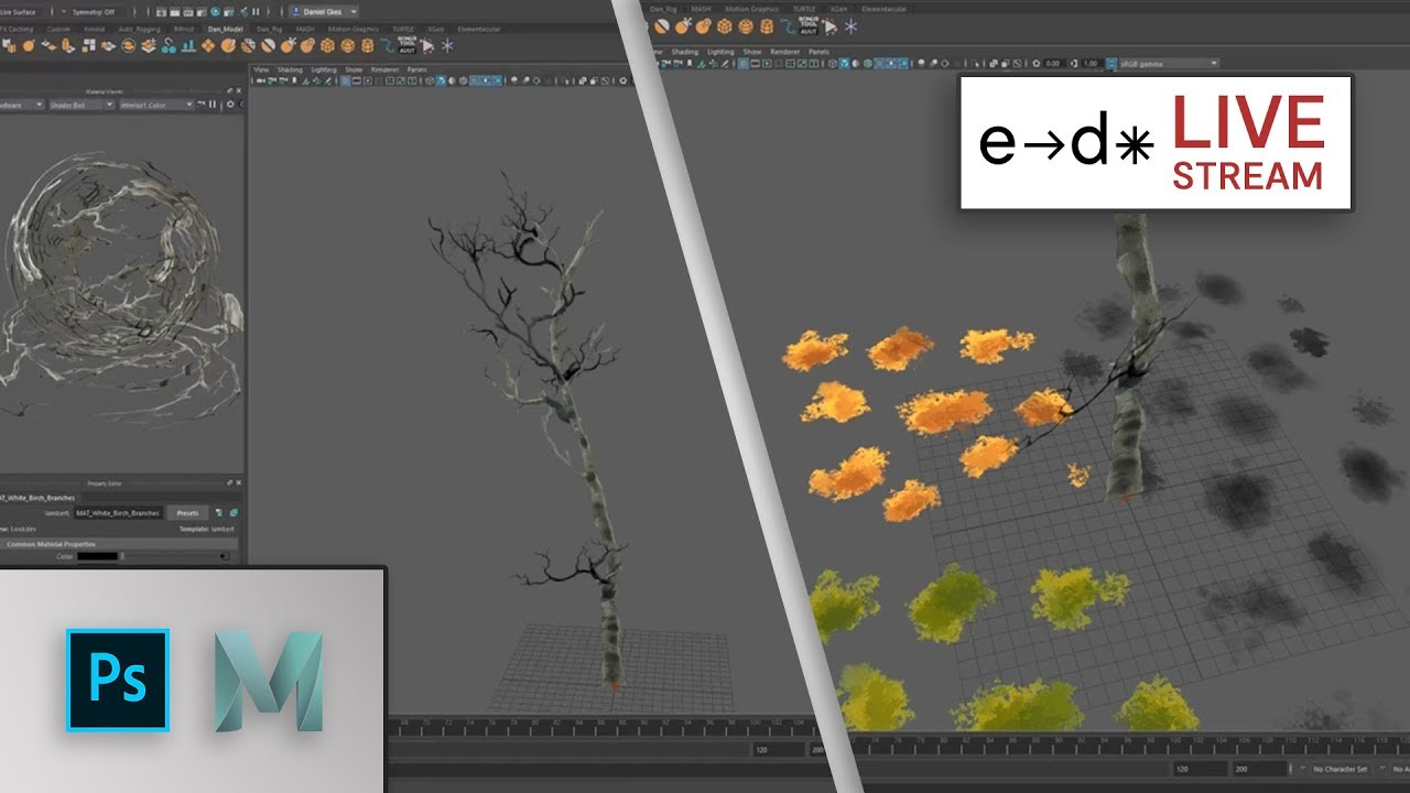 Live Stream : Taking 2D assets from Photoshop to Maya for Making TREES!