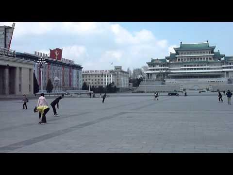 Inline skating at Kim Il-Sung Square, Pyongyang