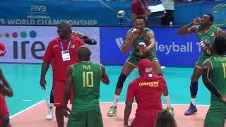 12-09-2018: #barivolley2018 - La danza dei leoni del Camerun dopo la vittoria all'esordio mondiale