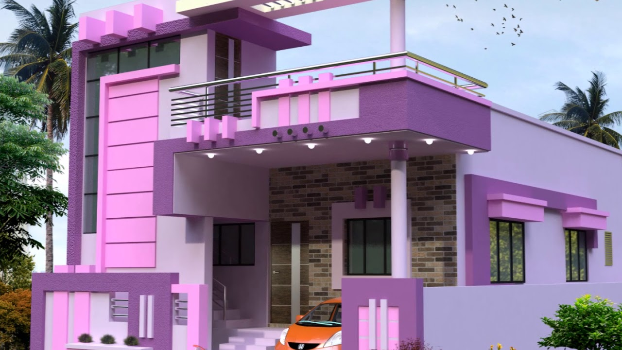 Front Elevation Painting Colours : Best purple color home elevations youtube