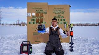 Ice Fishing in a Cardboard Box House! (DIY ICE HOUSE)