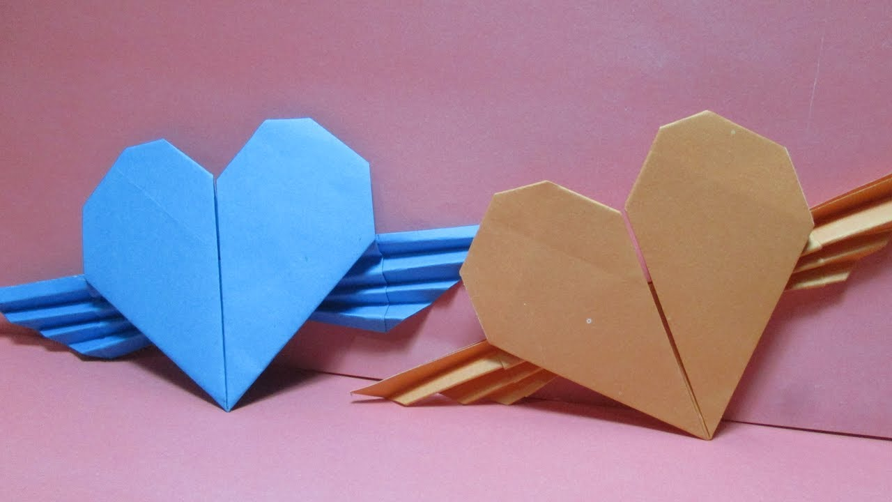 DIY Origami Paper Winged Heart | Paper crafts origami, Origami ... | 720x1280