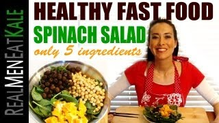 Healthy Fast Food - Spinach Salad (5 Main Ingredients)