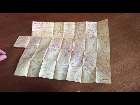 Paris antique city plan 1886 miniature folding pocket format folding map