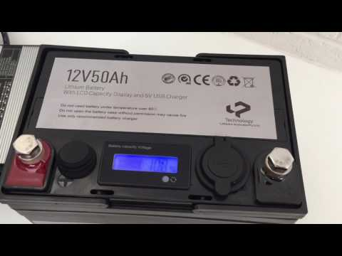 12V 50AH lithium battery with LCD and power station with USB charger
