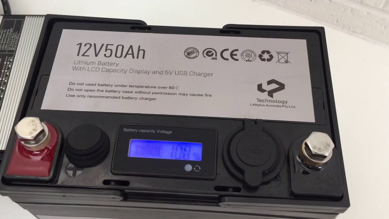 12v 50ah lithium battery with lcd and power station with usb charger youtube. Black Bedroom Furniture Sets. Home Design Ideas