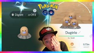 FULL ODDS SHINY DIGLETT CAUGHT & SHINY DUGTRIO EVOLUTION in Pokemon Go!