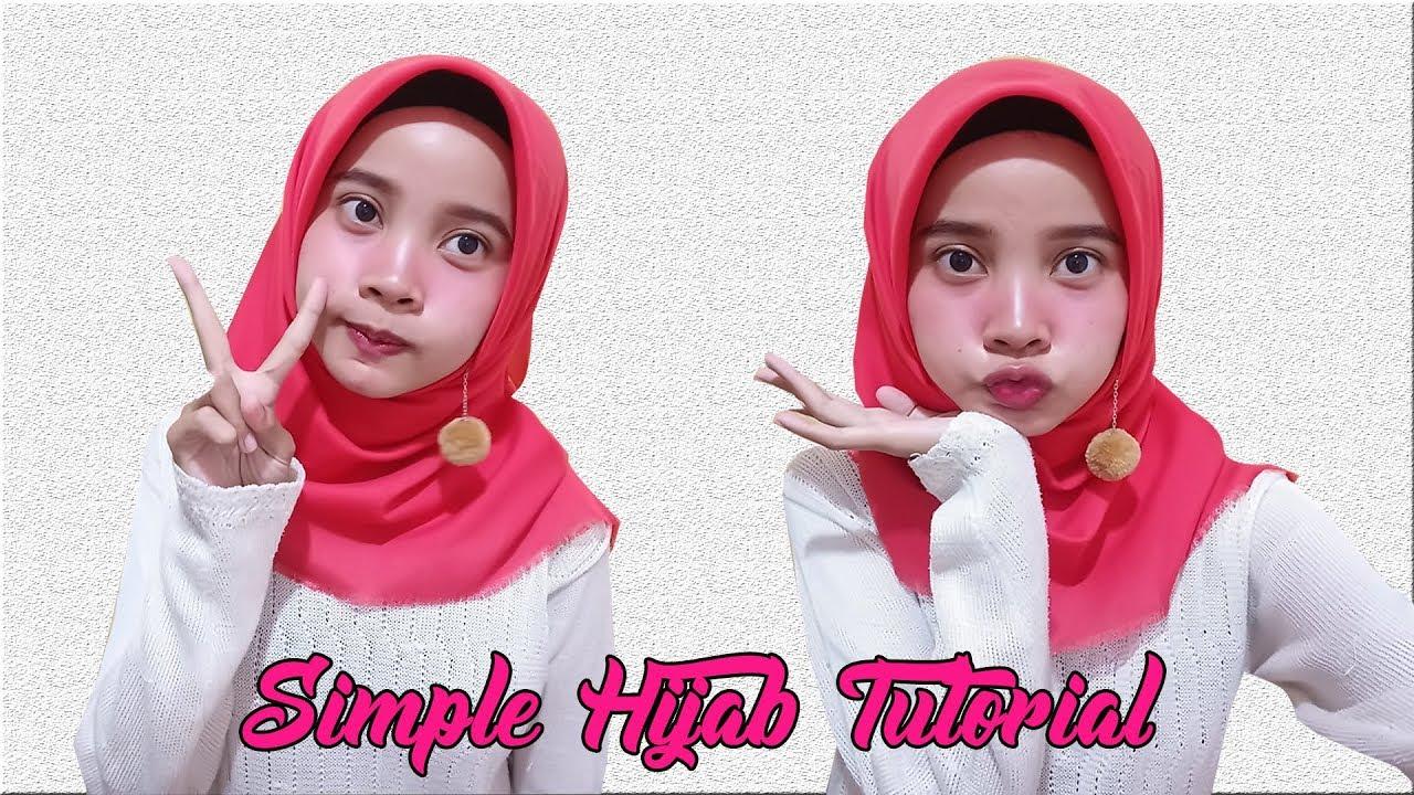 Tutorial Hijab Segi Empat Simple Dan Elegan Pake Anting Youtube