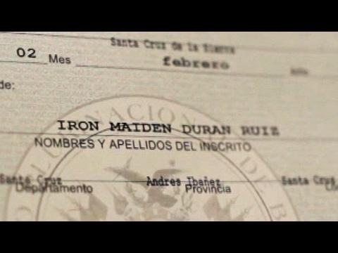 pretenden que su hijo sea una bestia y un demonio y le pusieron por nombre iron maiden