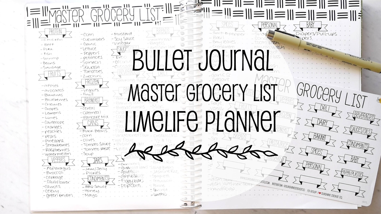 master grocery list bullet journaling youtube. Black Bedroom Furniture Sets. Home Design Ideas
