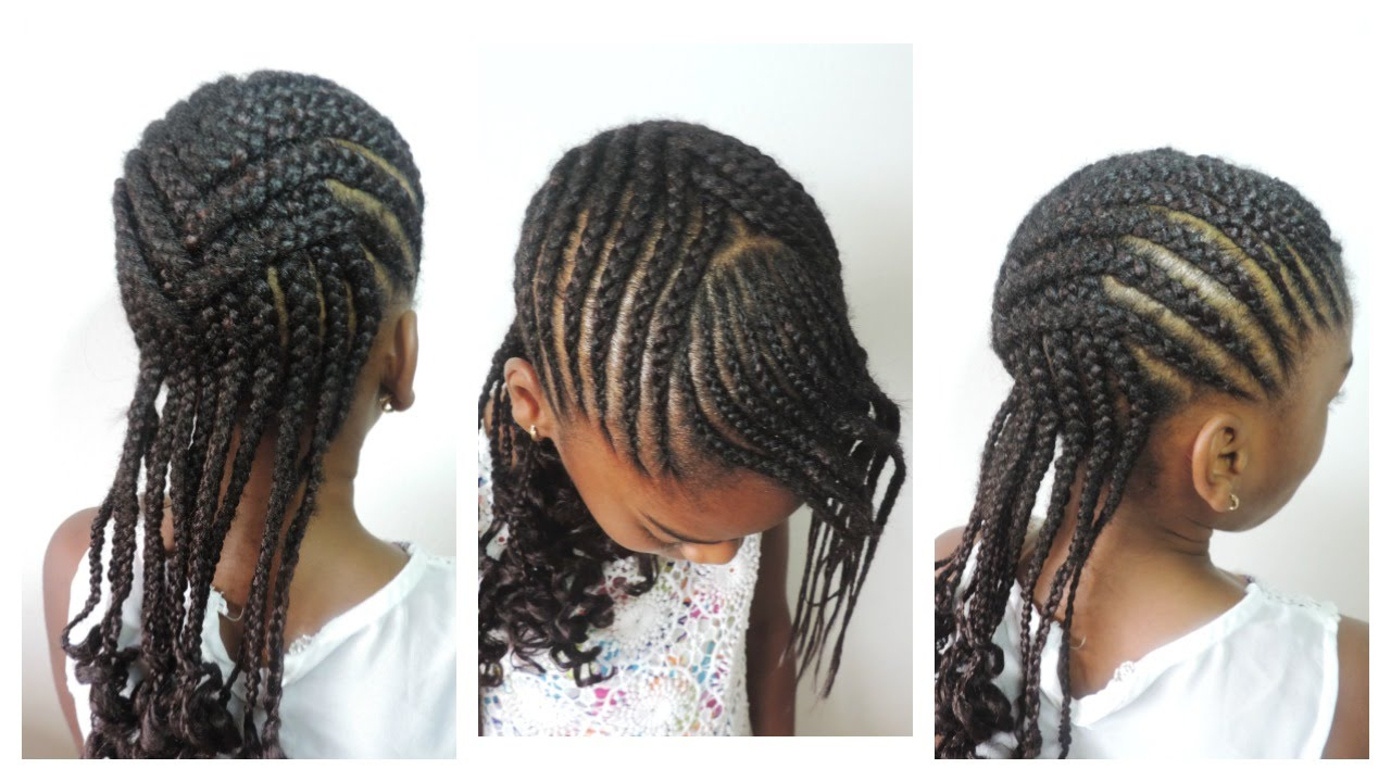 back to school hairstyle for kids || crisscross cornrow