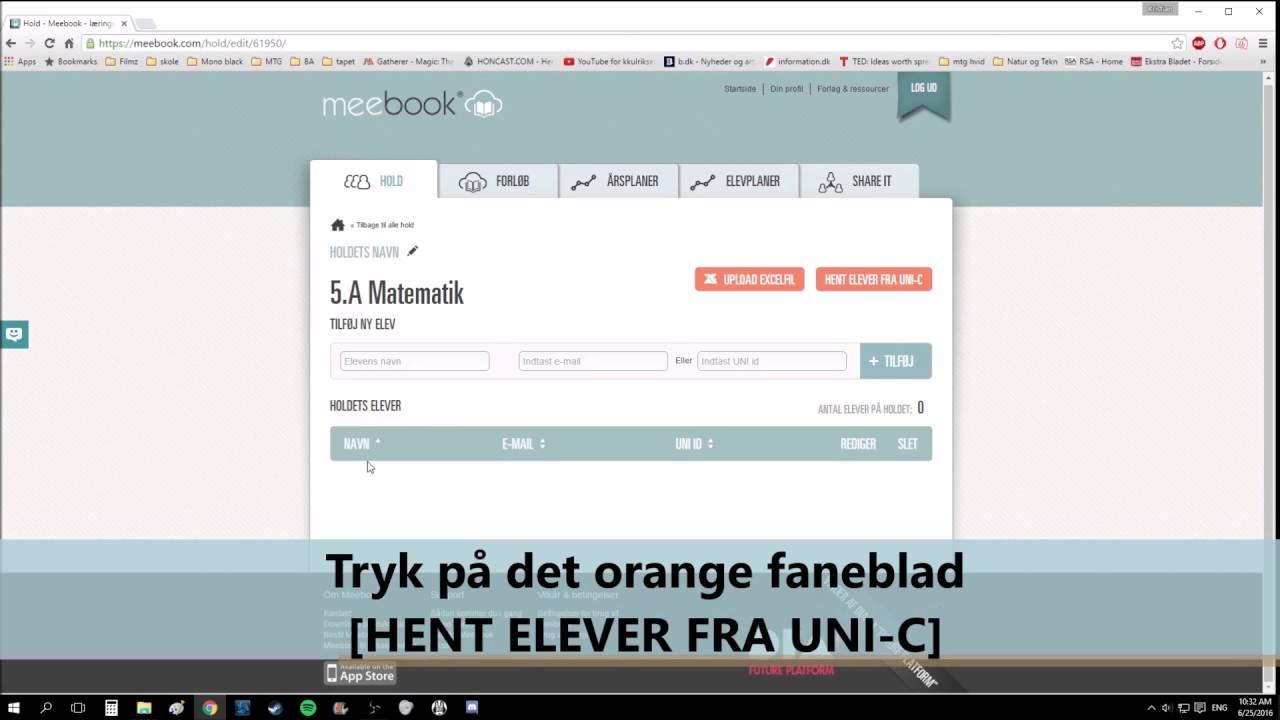Meebook - Opret hold og importer elever