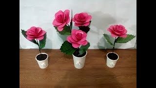 DIY#46 LOVELY ROSE MADE OF RECYCLED PAPER CUPS