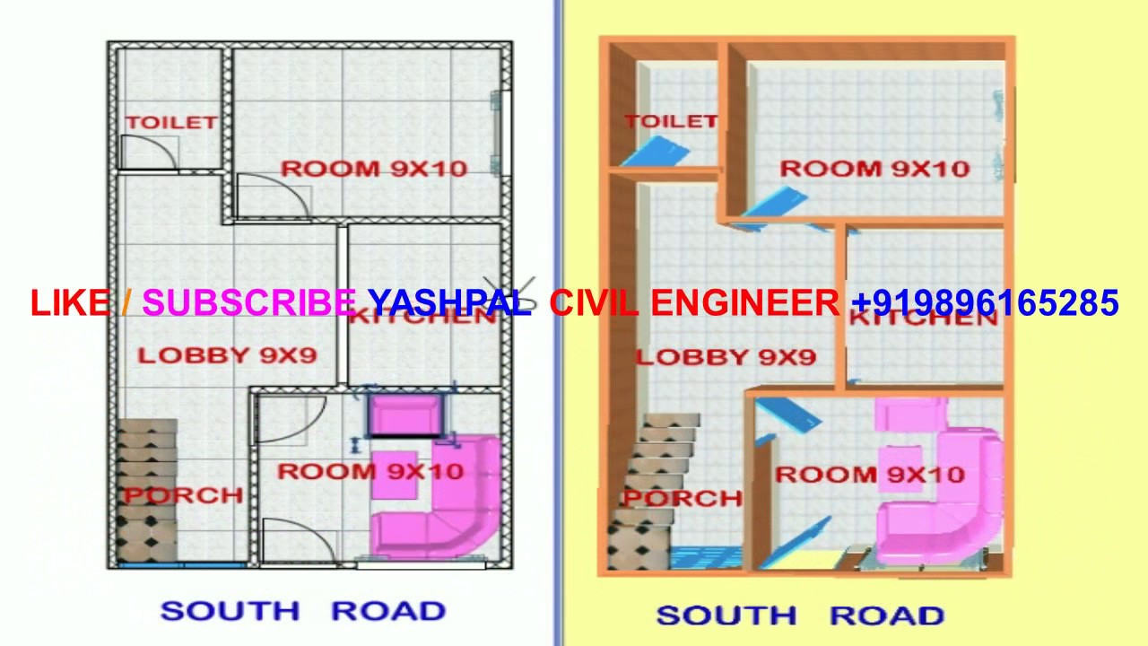VASTU SOUTH FACE HOUSE MAP DRAWING 2+3D 15X27