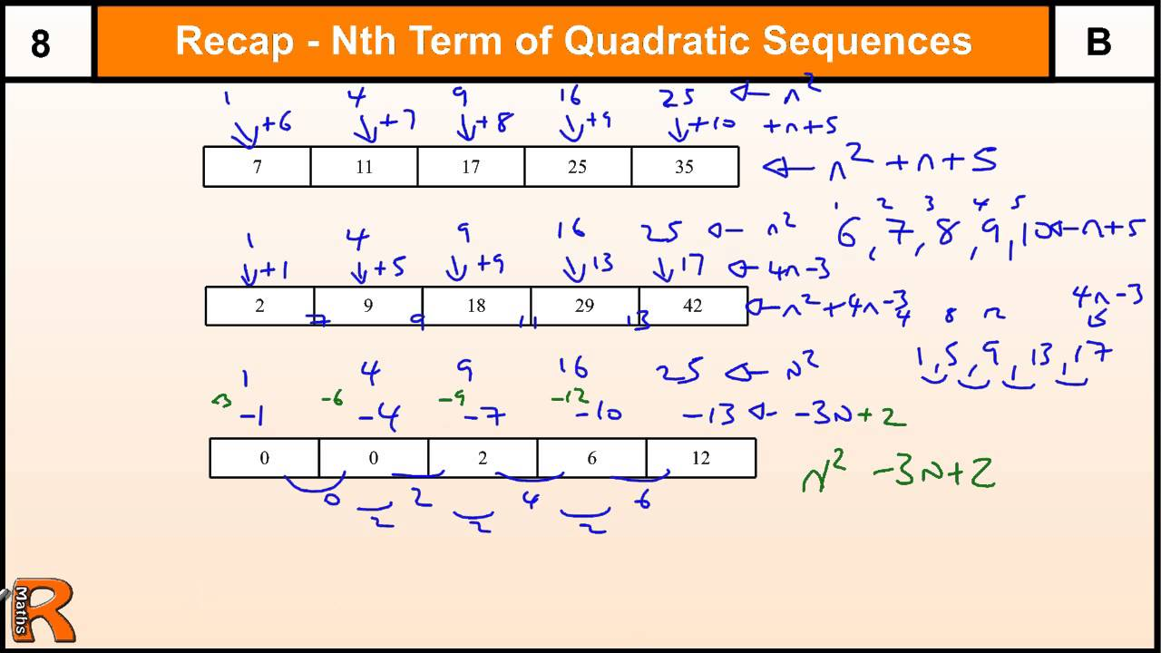 How to do Nth term of a Quadratic sequence, GCSE Maths ...