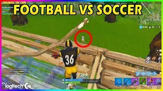 FOOTBALL SKINS VS SOCCER SKINS - Fortnite funny moments