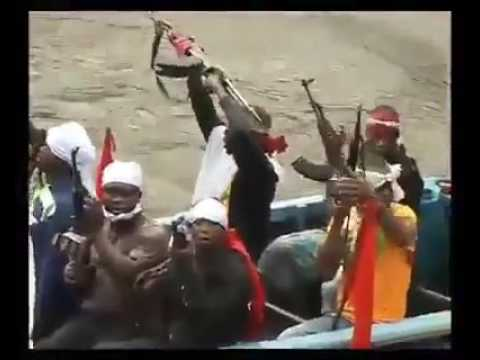Niger Delta Avengers From Ijaw nation Showing off their fire power, and battle ready Speed Boats