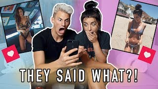 REACTING TO MY GIRLFRIENDS INSTAGRAM COMMENTS! **SHOCKED**