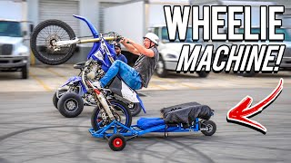 TESTING THE CRAZIEST DIRT BIKE WHEELIE MACHINE ! ( IT WORKS ! )   | BRAAP VLOGS