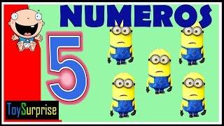 numeros para niños en español del 1 al 10. Contar con Minions, Peppa, Mickey, Bob Esponja, Dora