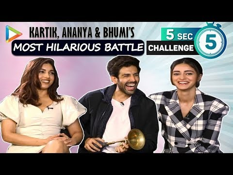 5 SECOND CHALLENGE: Kartik, Ananya & Bhumi's LAUGH RIOT- Top 3 Actors & Actresses in Bollywood ? Mp3