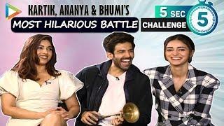 5 SECOND CHALLENGE: Kartik, Ananya & Bhumi's LAUGH RIOT- Top 3 Actors & Actresses in Bollywood ?