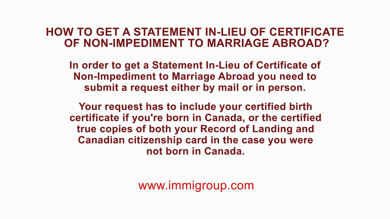 How to get a statement in lieu of certificate of non impediment to how to get a statement in lieu of certificate of non impediment to marriage abroad youtube aiddatafo Image collections