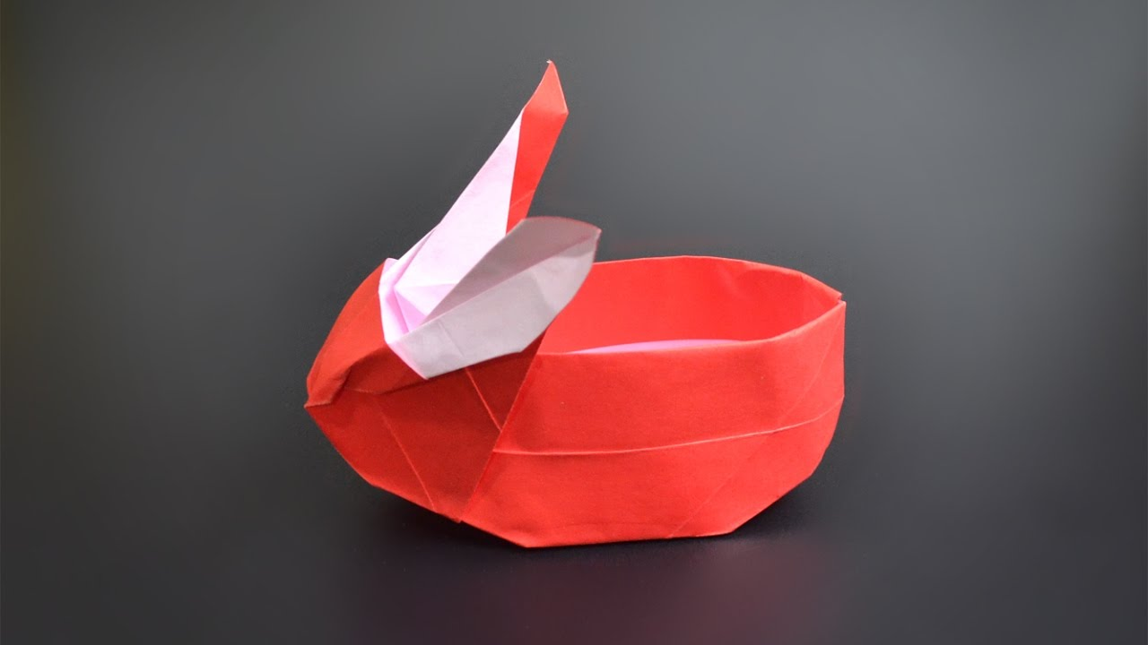 origami bunny basket instructions in english br youtube