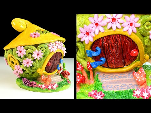 DIY Fairy Garden House | Clay Coil Pot Fairy House | Paper Clay Tutorial