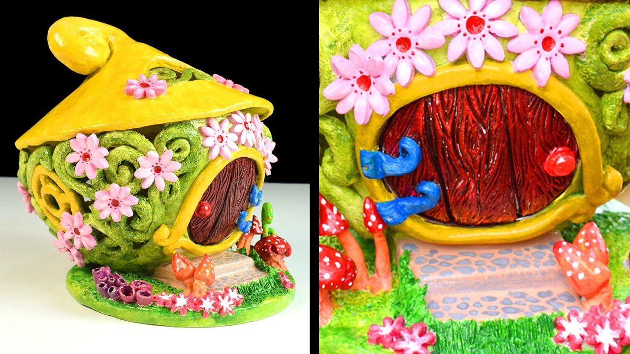 Diy Fairy Garden House Clay Coil Pot Fairy House Paper Clay Tutorial