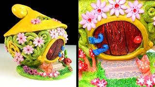 DIY Fairy Garden House | Clay Coil Pot Fairy House | Paper Clay Tutorial