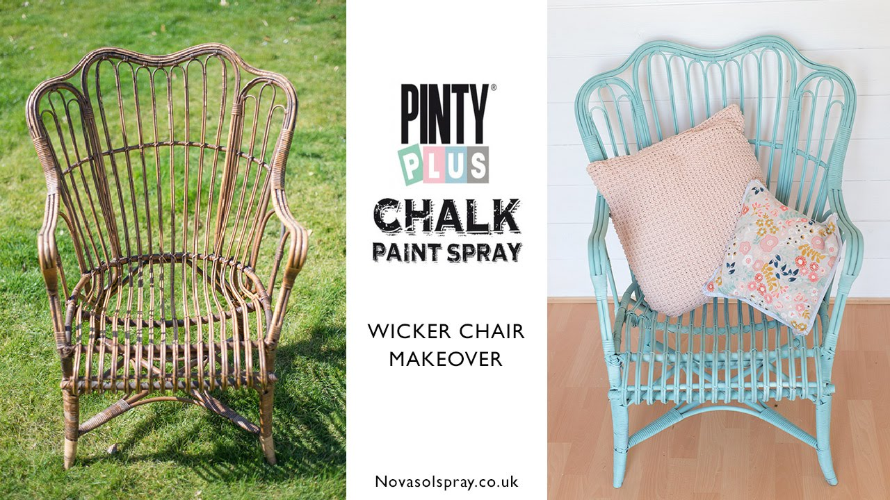 Painted Rattan Furniture Diy Chalk Spray Paint Makeover Of A 5 Wicker Chair Using Pinty Plus Spray Chalk Paint