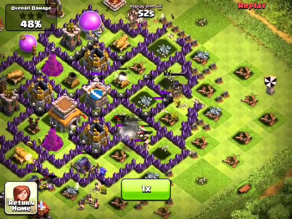 Clash of clans th 8 hybrid attack replay 1 youtube