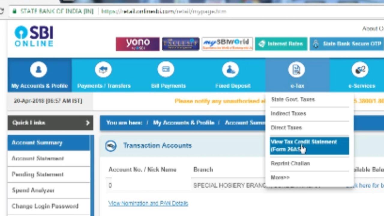 SBI की Intetnet Banking Site से Form 26AS कैसे Download करें । TDS Traces  जानें हिंदी में