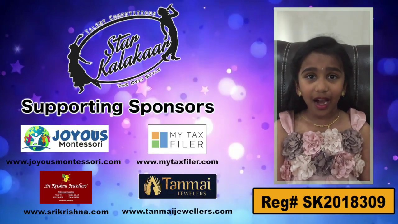 Participant Reg# SKP2018-309   -  US Star Kalakaar 2018