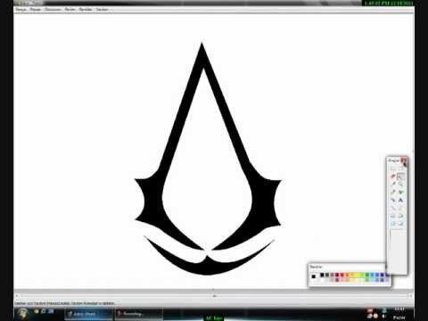 Drawing Assassins Creed Logo On Paint Youtube